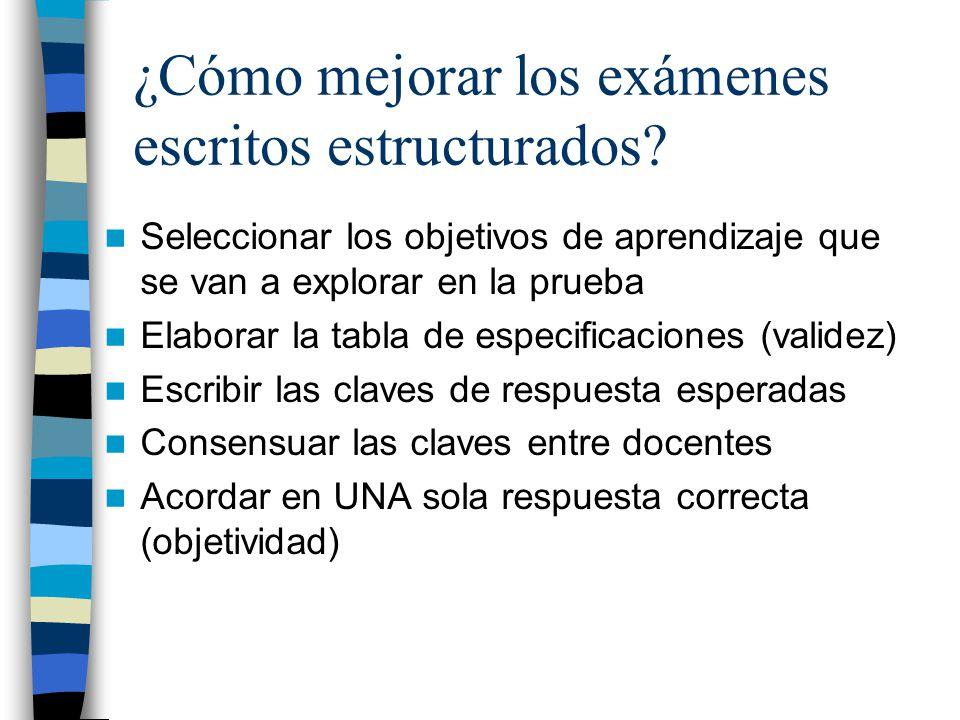 ¿Cómo mejorar los exámenes escritos estructurados