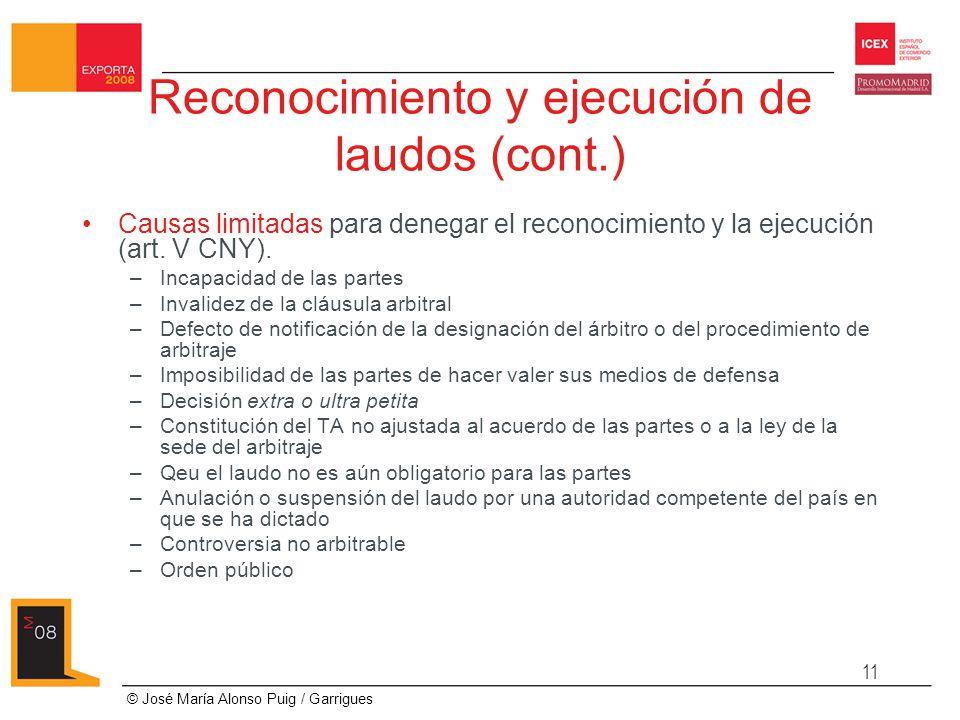 Reconocimiento y ejecución de laudos (cont.)