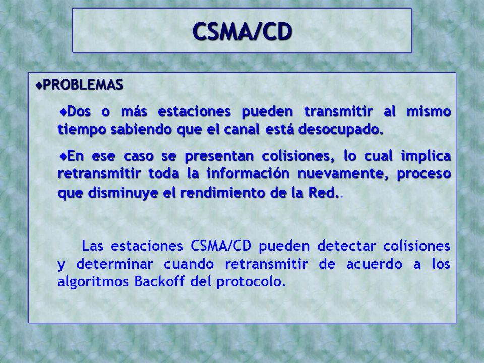 CSMA/CD PROBLEMAS. Dos o más estaciones pueden transmitir al mismo tiempo sabiendo que el canal está desocupado.