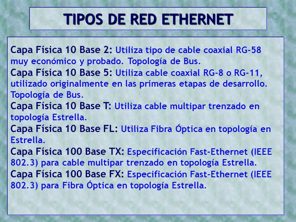 TIPOS DE RED ETHERNET Capa Física 10 Base 2: Utiliza tipo de cable coaxial RG-58 muy económico y probado. Topología de Bus.