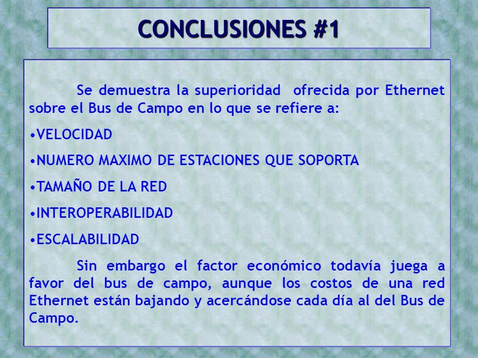 CONCLUSIONES #1 Se demuestra la superioridad ofrecida por Ethernet sobre el Bus de Campo en lo que se refiere a: