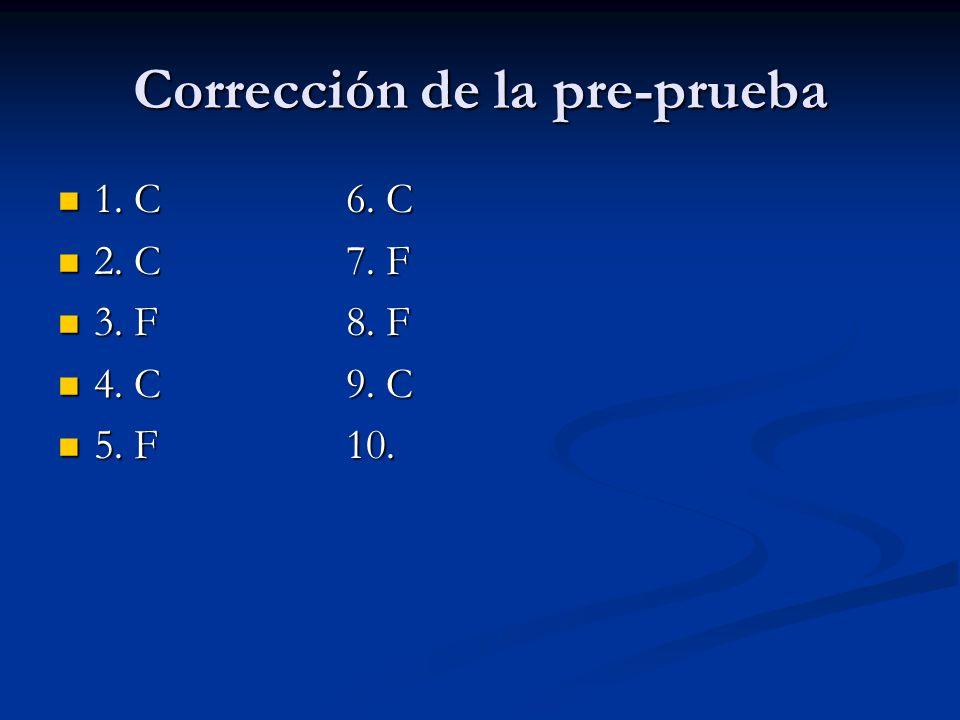 Corrección de la pre-prueba