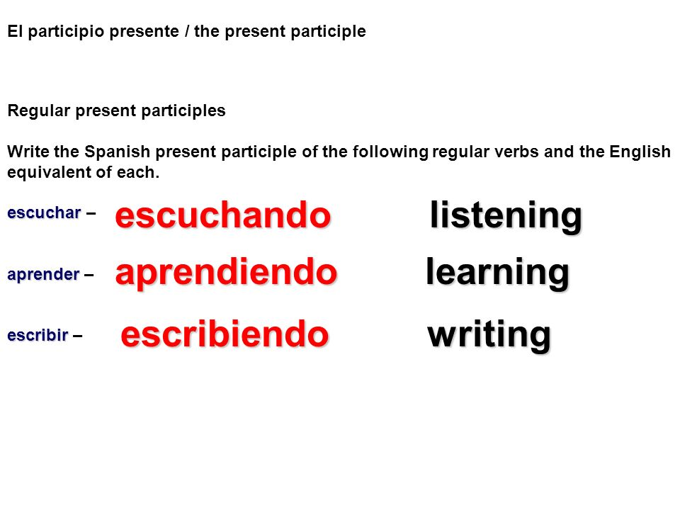 escuchando listening aprendiendo learning escribiendo writing