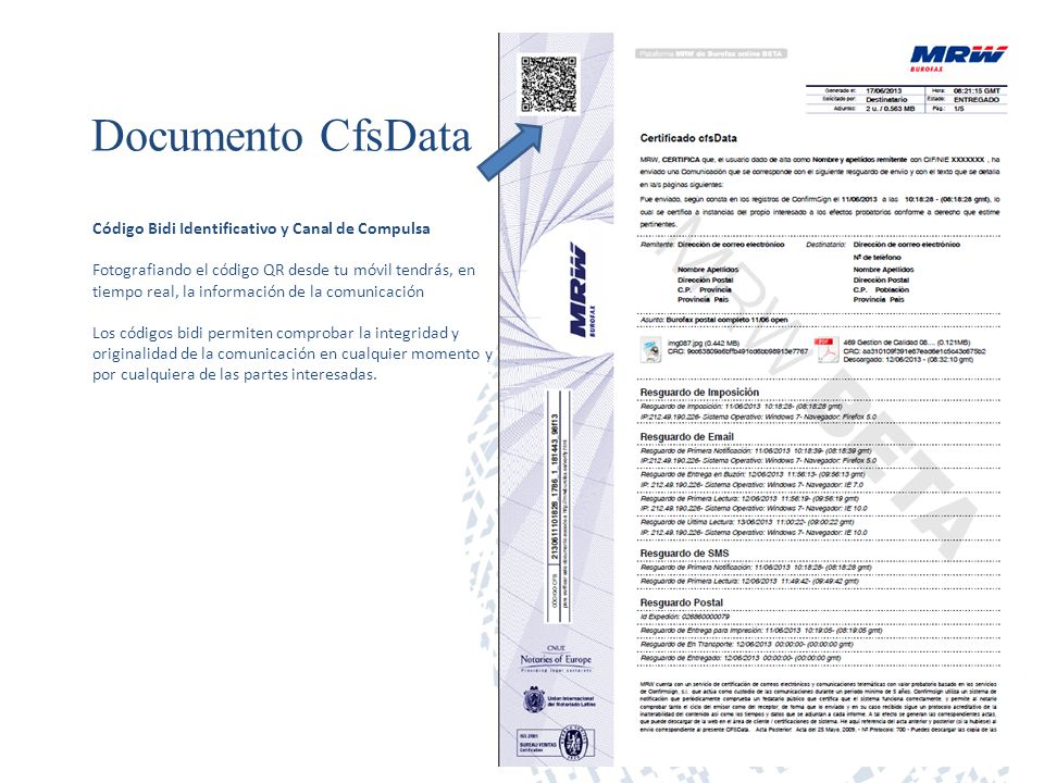 Documento CfsData Código Bidi Identificativo y Canal de Compulsa