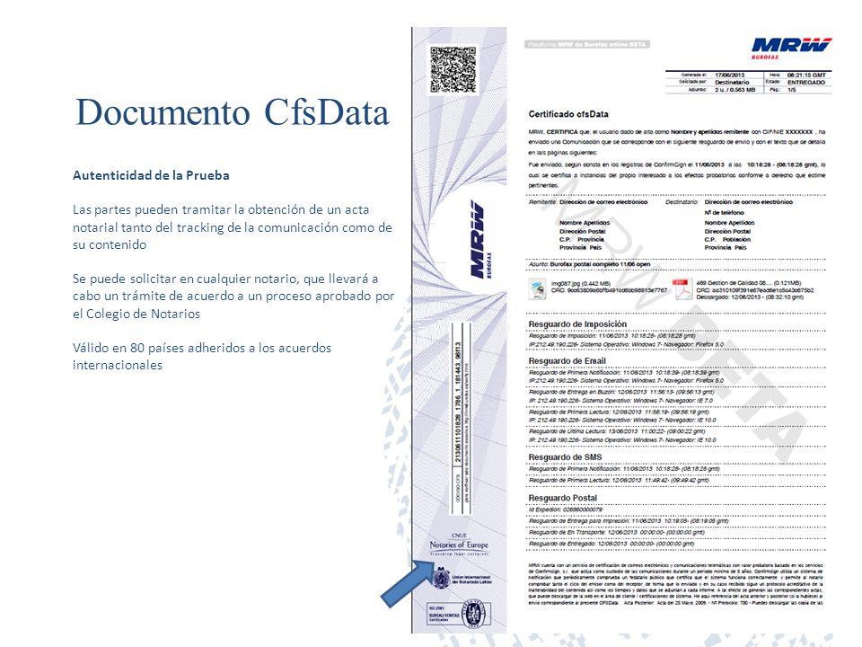 Documento CfsData Autenticidad de la Prueba