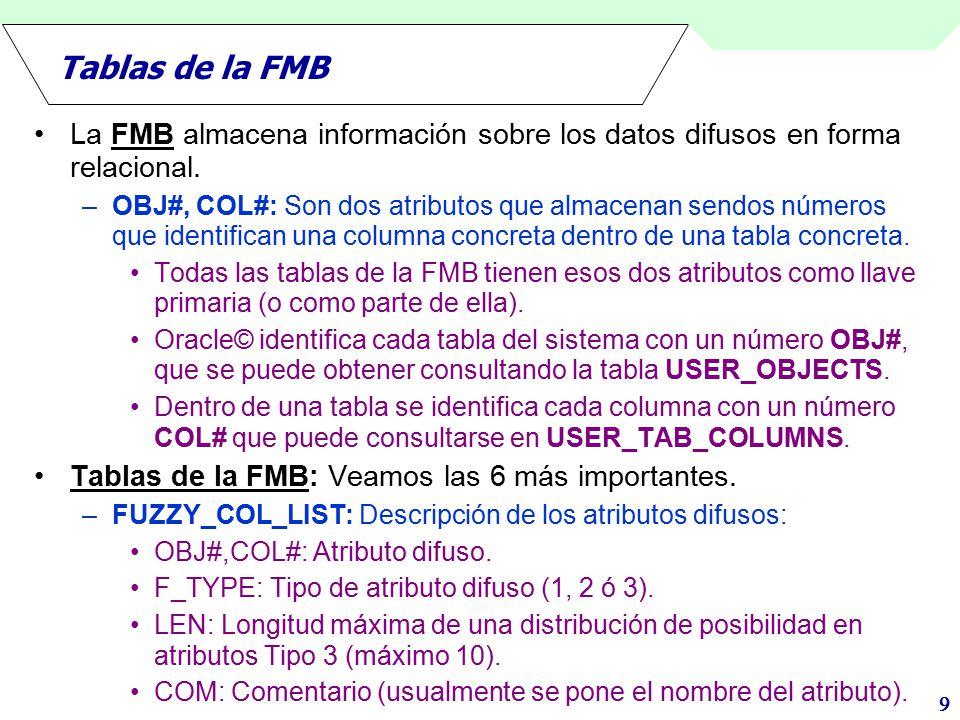 Tablas de la FMB La FMB almacena información sobre los datos difusos en forma relacional.