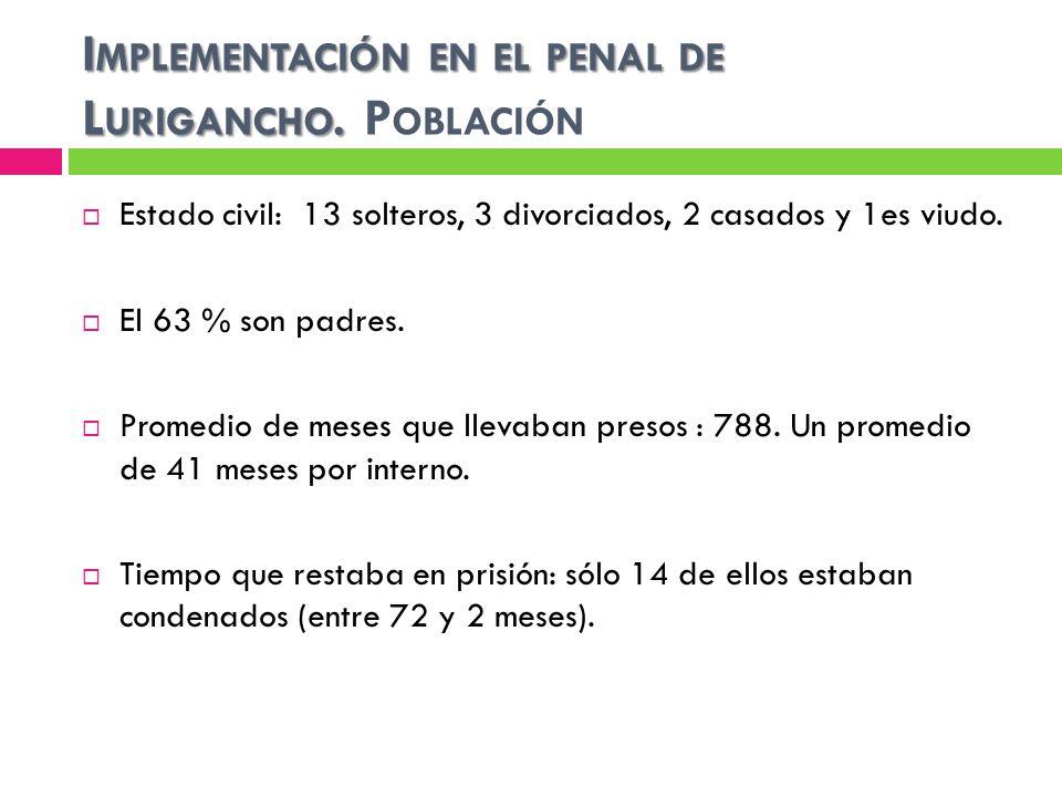 Implementación en el penal de Lurigancho. Población