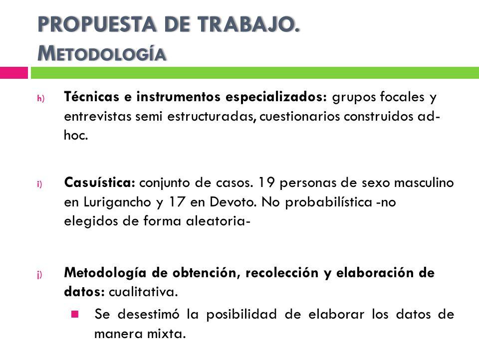 PROPUESTA DE TRABAJO. Metodología