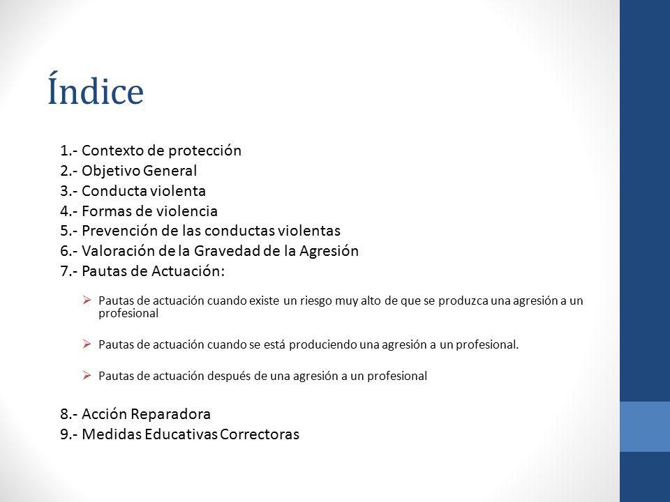 Índice 1.- Contexto de protección 2.- Objetivo General