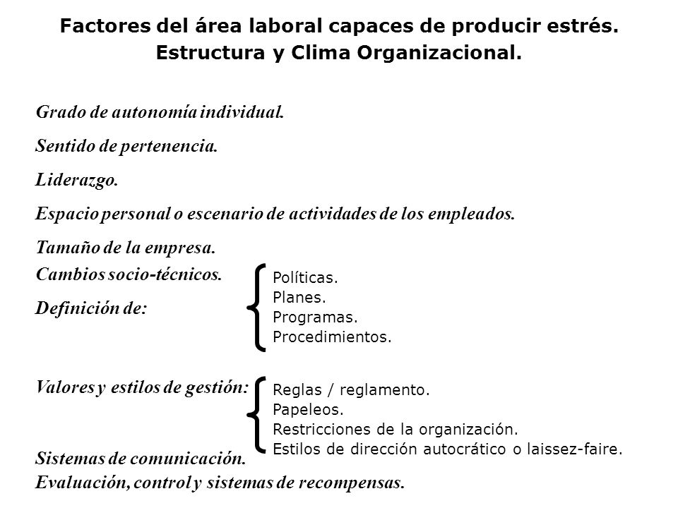 Factores del área laboral capaces de producir estrés.