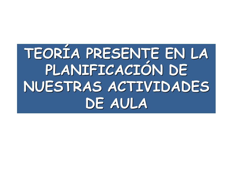 TEORÍA PRESENTE EN LA PLANIFICACIÓN DE NUESTRAS ACTIVIDADES DE AULA