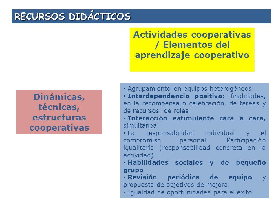 RECURSOS DIDÁCTICOS Actividades cooperativas / Elementos del aprendizaje cooperativo. Agrupamiento en equipos heterogéneos.