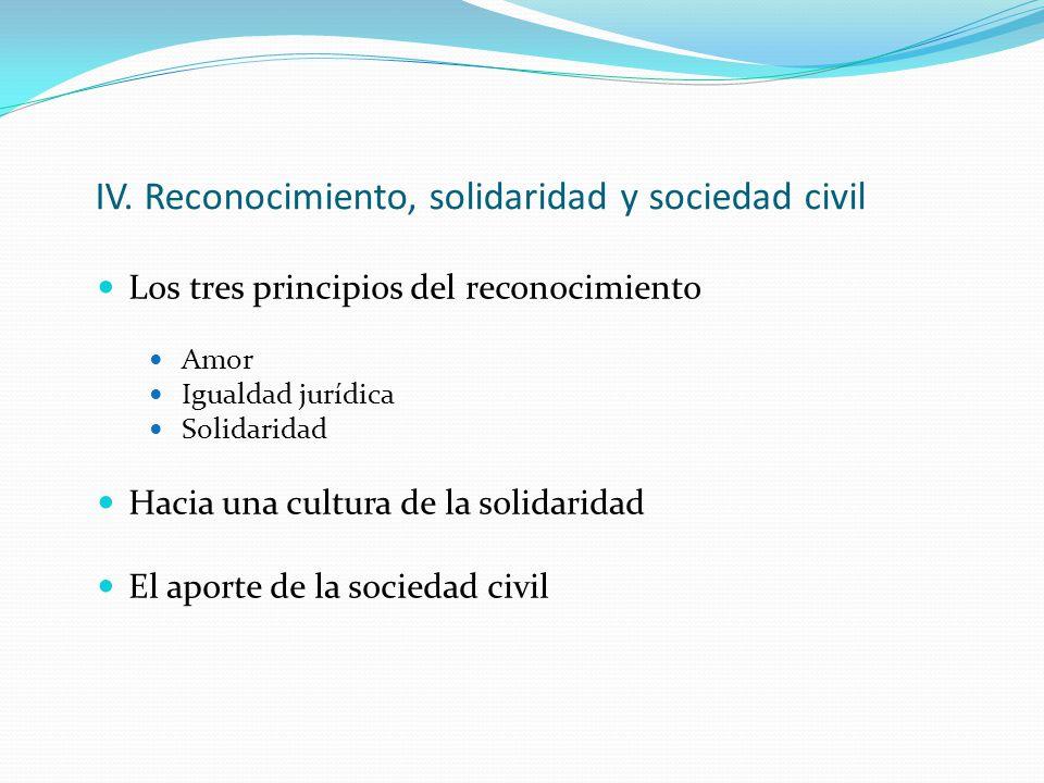 IV. Reconocimiento, solidaridad y sociedad civil