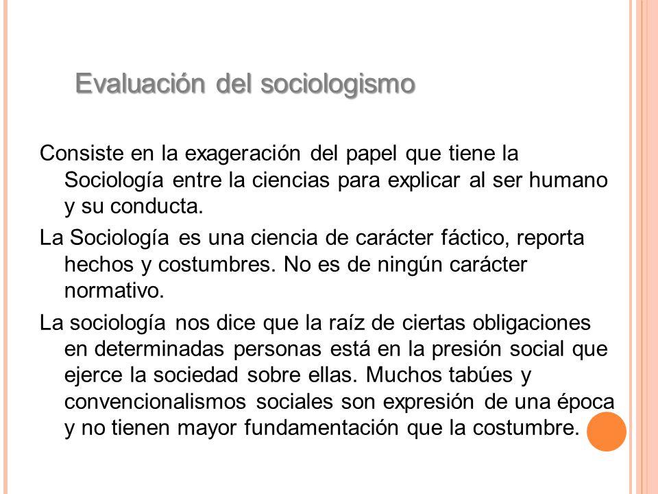 Evaluación del sociologismo