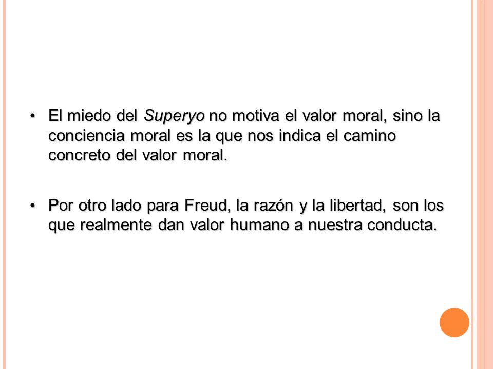 30/03/09 El miedo del Superyo no motiva el valor moral, sino la conciencia moral es la que nos indica el camino concreto del valor moral.