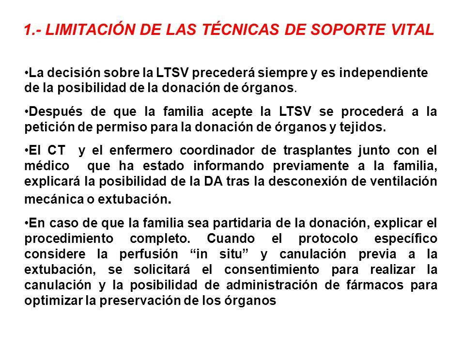 1.- LIMITACIÓN DE LAS TÉCNICAS DE SOPORTE VITAL