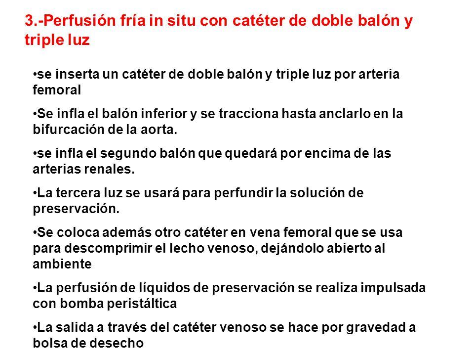 3.-Perfusión fría in situ con catéter de doble balón y triple luz