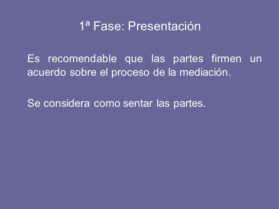 1ª Fase: Presentación Es recomendable que las partes firmen un acuerdo sobre el proceso de la mediación.