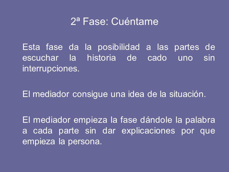 2ª Fase: Cuéntame Esta fase da la posibilidad a las partes de escuchar la historia de cado uno sin interrupciones.