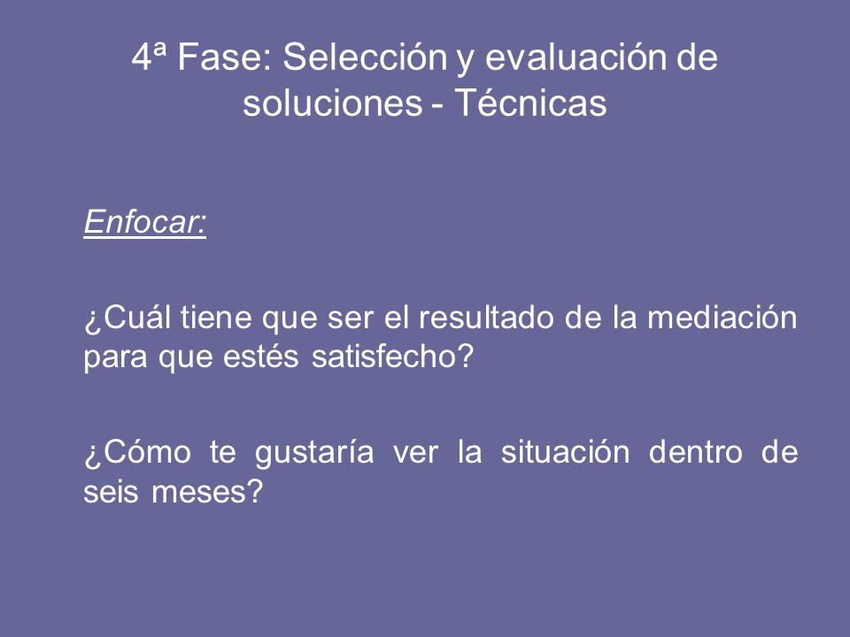 4ª Fase: Selección y evaluación de soluciones - Técnicas