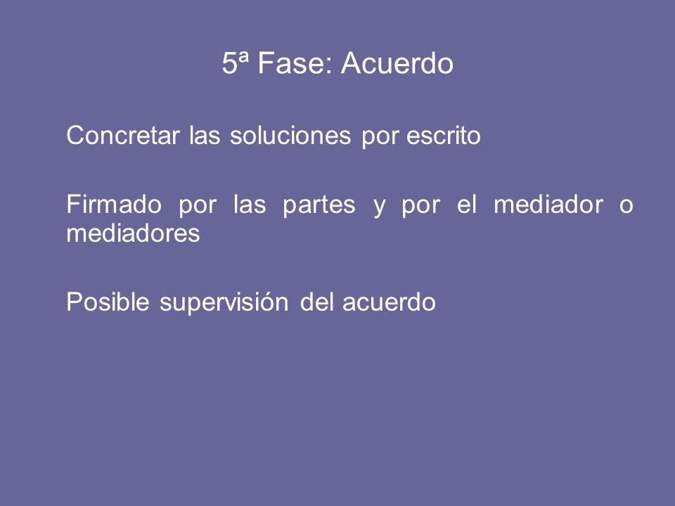 5ª Fase: Acuerdo Concretar las soluciones por escrito