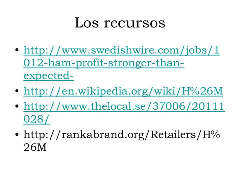 Los recursoshttp://www.swedishwire.com/jobs/1012-ham-profit-stronger-than-expected- http://en.wikipedia.org/wiki/H%26M.