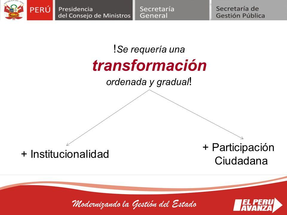 !Se requería una transformación ordenada y gradual!