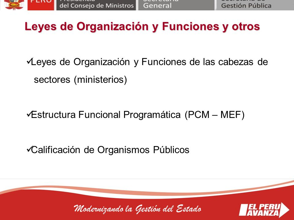 Leyes de Organización y Funciones y otros