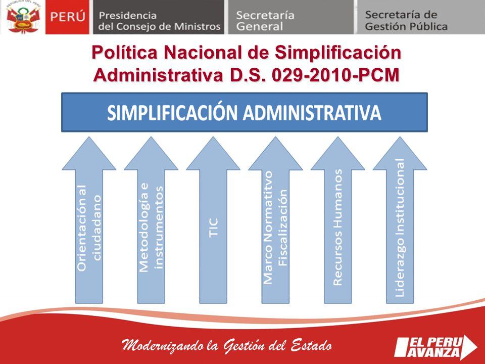 Política Nacional de Simplificación Administrativa D.S. 029-2010-PCM