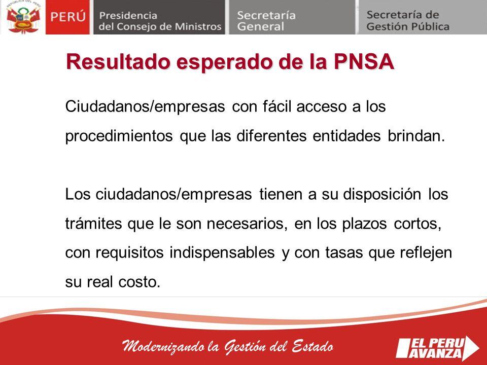 Resultado esperado de la PNSA
