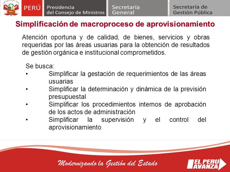 Simplificación de macroproceso de aprovisionamiento