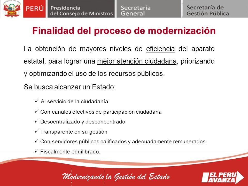 Finalidad del proceso de modernización