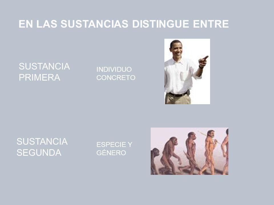 SUSTANCIA PRIMERA SUSTANCIA SEGUNDA EN LAS SUSTANCIAS DISTINGUE ENTRE