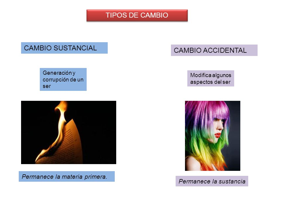 TIPOS DE CAMBIO CAMBIO SUSTANCIAL CAMBIO ACCIDENTAL
