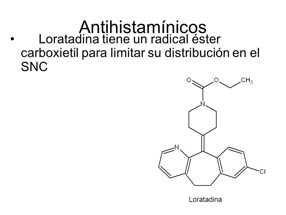 Antihistamínicos Loratadina tiene un radical éster carboxietil para limitar su distribución en el SNC.