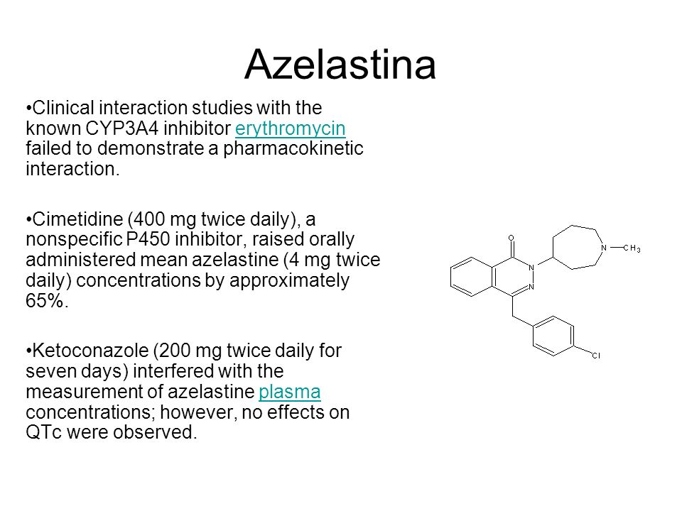 AzelastinaClinical interaction studies with the known CYP3A4 inhibitor erythromycin failed to demonstrate a pharmacokinetic interaction.