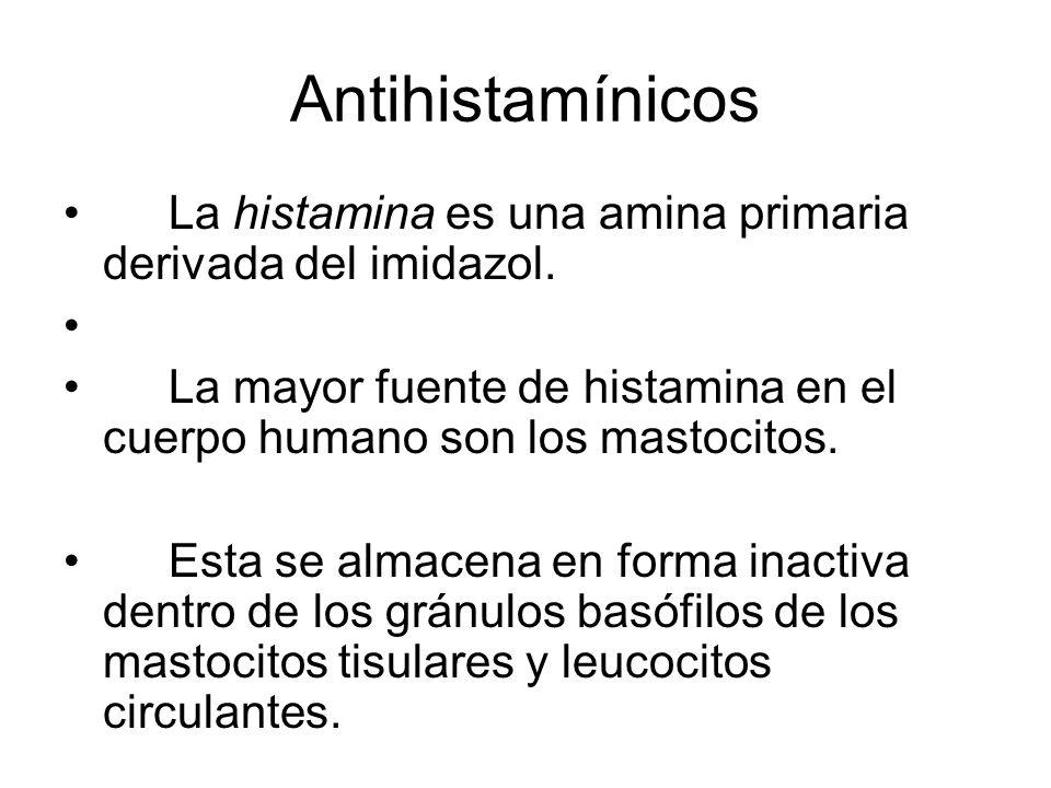 Antihistamínicos La histamina es una amina primaria derivada del imidazol. La mayor fuente de histamina en el cuerpo humano son los mastocitos.