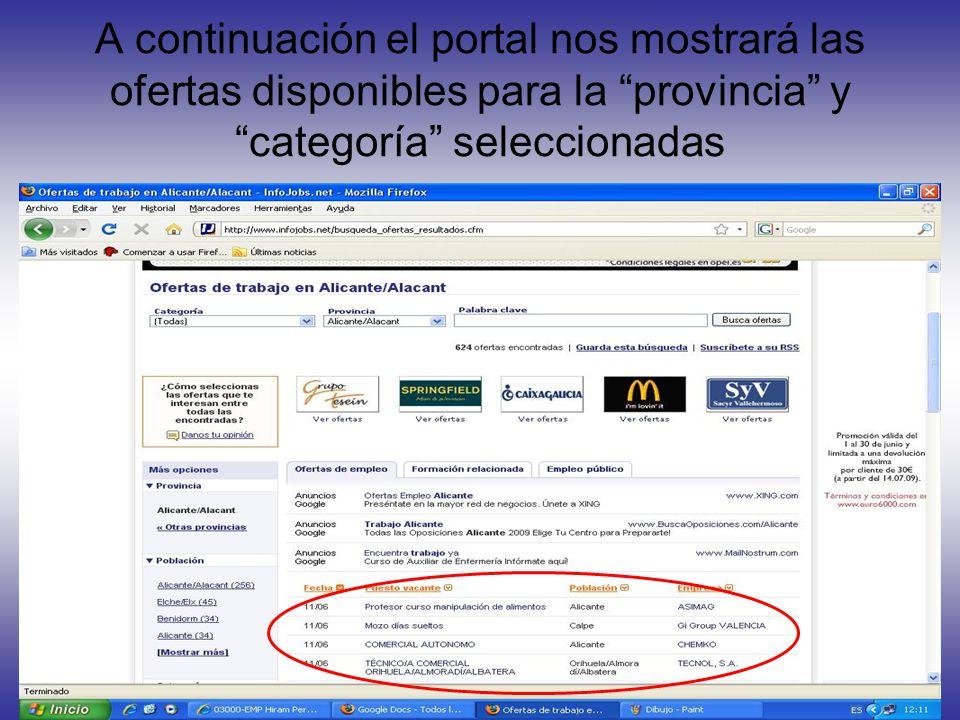 A continuación el portal nos mostrará las ofertas disponibles para la provincia y categoría seleccionadas