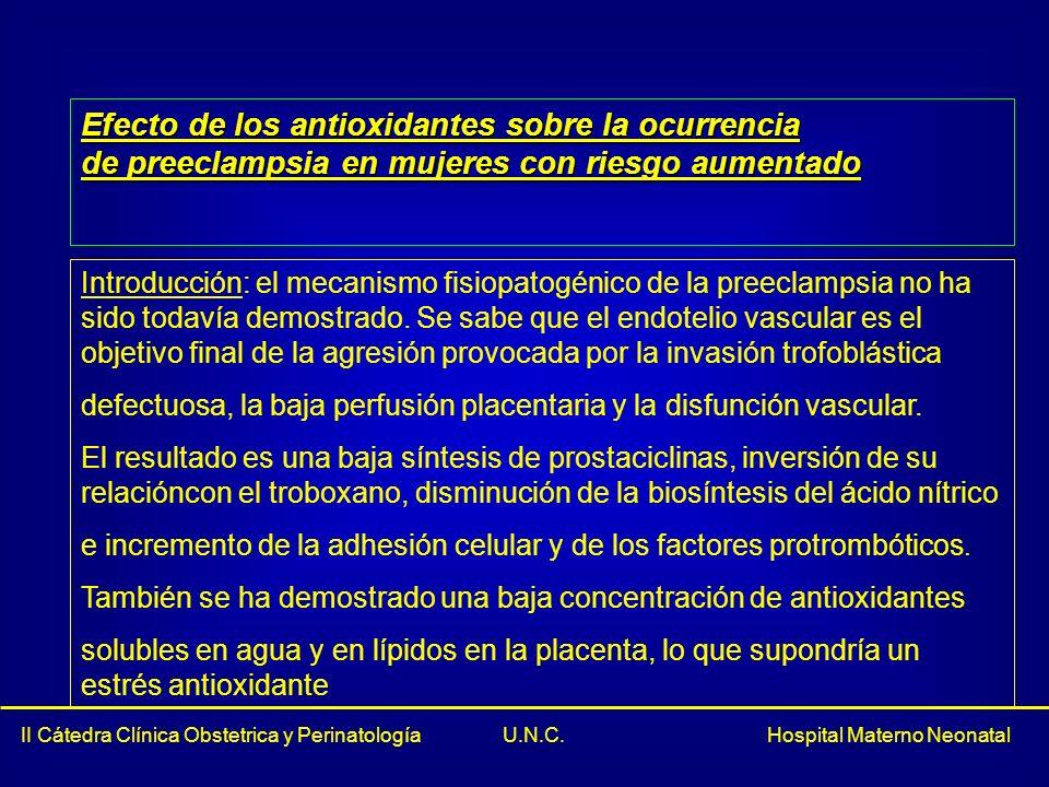 Efecto de los antioxidantes sobre la ocurrencia