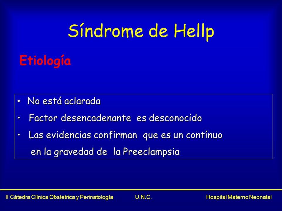 Síndrome de Hellp Etiología No está aclarada