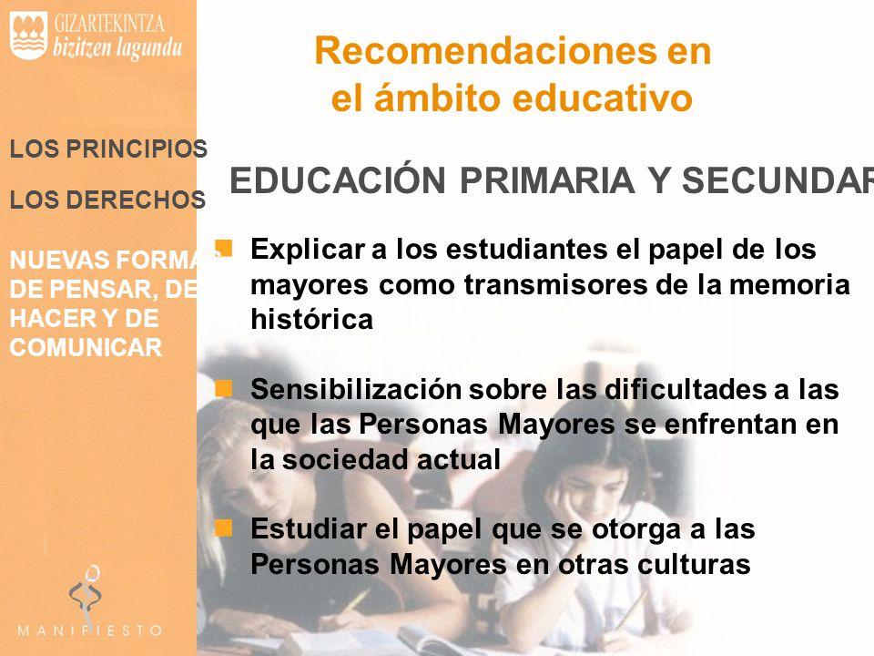 Recomendaciones en el ámbito educativo