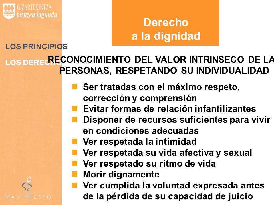 Derecho a la dignidad. LOS PRINCIPIOS. RECONOCIMIENTO DEL VALOR INTRINSECO DE LAS PERSONAS, RESPETANDO SU INDIVIDUALIDAD.