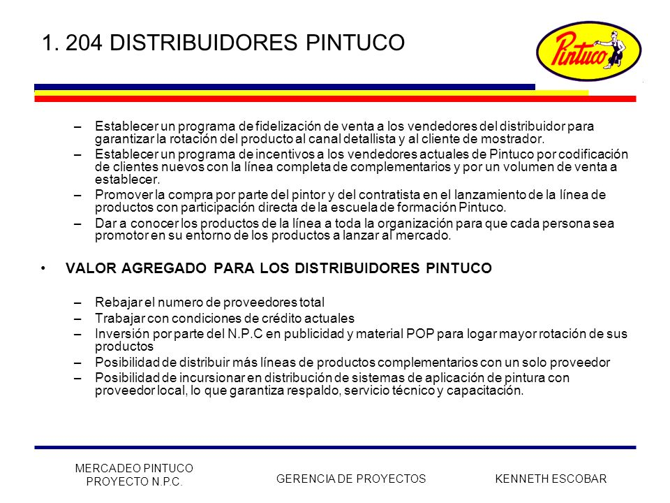 1. 204 DISTRIBUIDORES PINTUCO