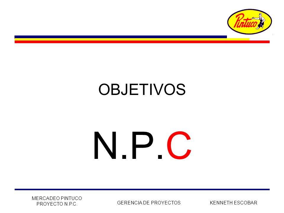OBJETIVOS N.P.C MERCADEO PINTUCO PROYECTO N.P.C. GERENCIA DE PROYECTOS