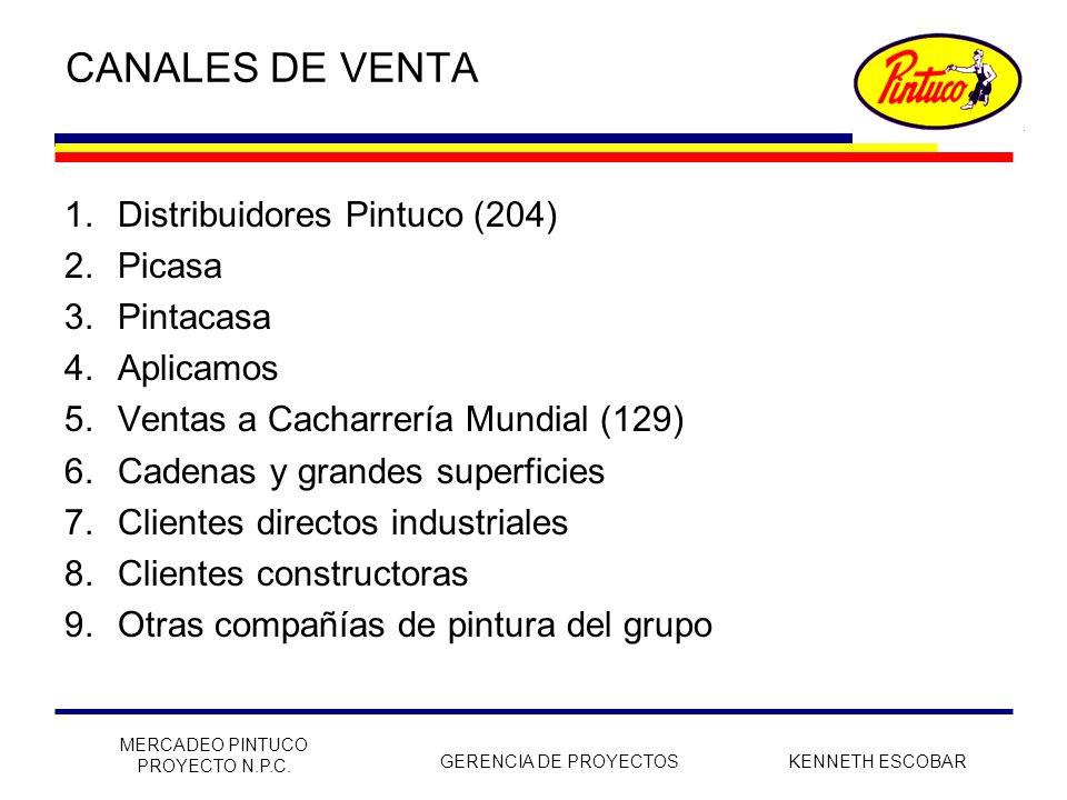 CANALES DE VENTA Distribuidores Pintuco (204) Picasa Pintacasa