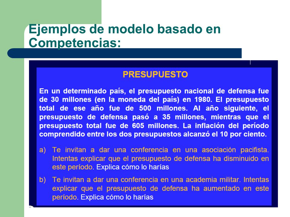 Ejemplos de modelo basado en Competencias: