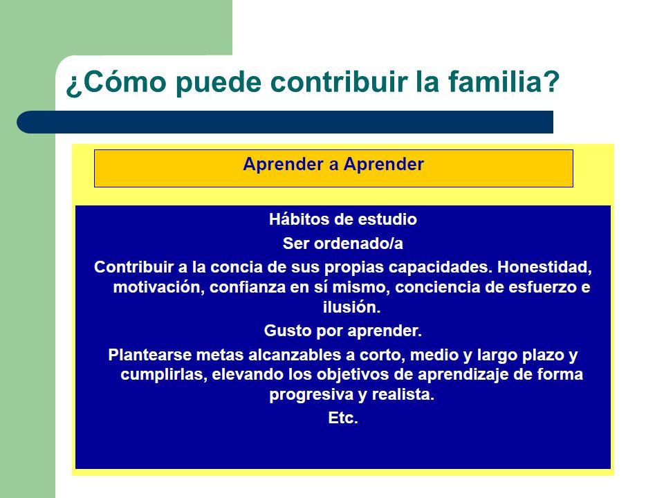 ¿Cómo puede contribuir la familia