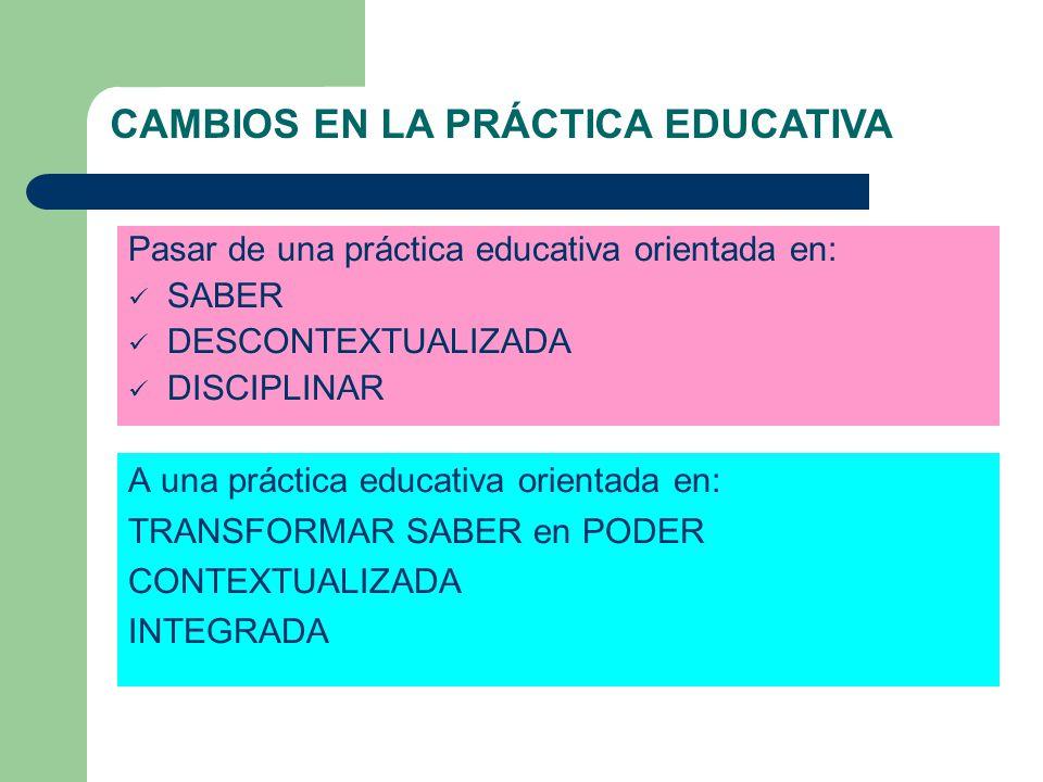 CAMBIOS EN LA PRÁCTICA EDUCATIVA