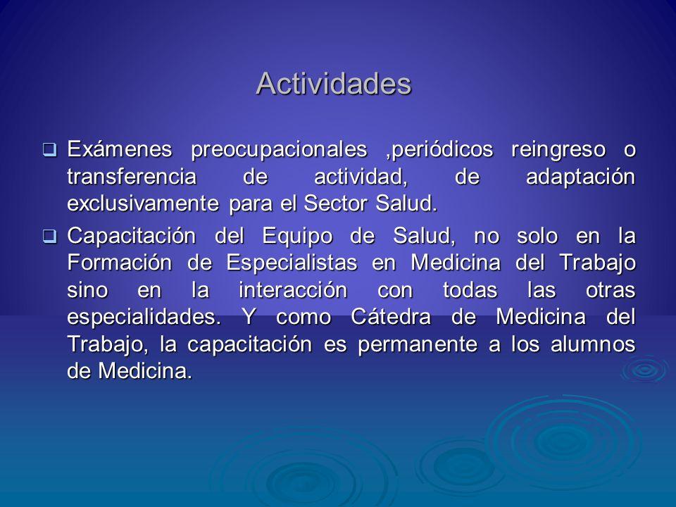 ActividadesExámenes preocupacionales ,periódicos reingreso o transferencia de actividad, de adaptación exclusivamente para el Sector Salud.