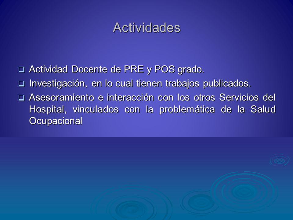 Actividades Actividad Docente de PRE y POS grado.